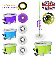 Easy Spin Mop Magic Microfiber Spining W/Bucket 4 Heads 360° Rotating Floor Mop