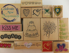 Love Rubber Stamp Wood Mount Wedding Hearts U PICK