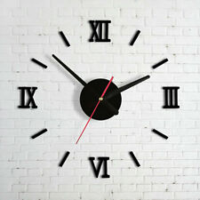 Modern DIY Interior Roman Wall Clock Wall Clock 3D Sticker Home Mirror Effect ER