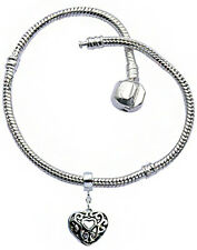 Silver Plated Euro-Brand Bracelet for Women With Heart Filigree Charm