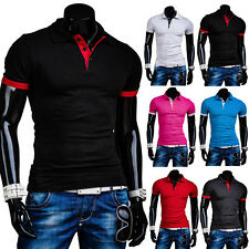 New Stylish Men's Casual Polo Shirt Short Sleeve T-Shirts Slim Fit Tee Shirts 63