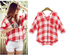 Fashion Autumn Women Ladies Checks Plaids Tops Shirts Loose Blouse Clothes Tops