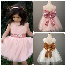 Toddler Baby Girls Sleeveless Sequin Party Wedding Pageant Tulle Princess Dress