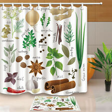 Plant pattern and name Waterproof Fabric Home Decor Shower Curtain Bathroom Mat