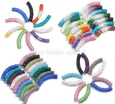 1pcs Curved Czech Crystal Rhinestones Pave Tube Bracelets Connector Charm Beads
