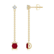 Yard Chain Natural Diamond and Ruby Drop Earrings in 14k Yellow Gold