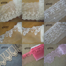 7 Patterns Mesh Tulle Lace / Embroidered Flower Ivory White Vermilion White zhq7