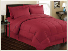 8pc Bed In Bag Hotel Comfy Dobby Embossed Comforter Set (Burgundy) Queen & King