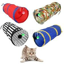 Collapsible Cat Kitten Play Tunnel Bag with 2 Suspended Ball Pet Activity Toys
