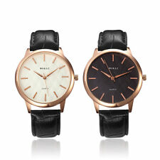 Women Men Luxury Quartz Analog Gold Leather Band Wrist Watch Casual Simple I5