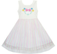 Flower Girls Dress Embroidered Sparkling White Princess Sundress Age 2-6 Years
