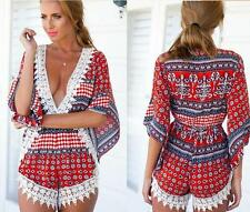 Summer Womens Floral V-neck Shirts Hot Short Pants Rompers Beach Jumpsuits F929
