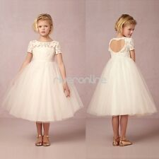 Formal Girls Wedding Ball Gown Pageant Bridesmaid Birthday Recital Tulle Dresses