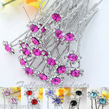 10p Crystal Flower Hair Pin Wedding Party Bridal Barrette Jewelry Hairpin Colors