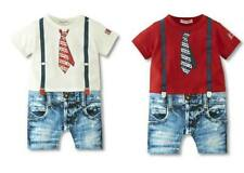 Baby Boy Daily Casual T-Shirt Print Tie+Jeans Suit Romper Clothes Outfit 6-24M
