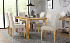Bali & City Extending Oak Dining Table & 4 6 Fabric Chairs Set (Oatmeal)