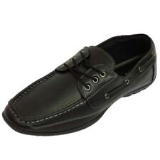 MENS BLACK LACE-UP WORK SMART CASUAL MOCCASIN LOAFERS DECK SHOES SIZES 6-11