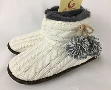 NEW PJ Couture Ivory Cable Knit Pom Pom Boot Slippers Womens M L
