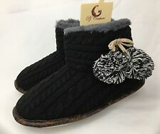 NEW PJ Couture Black Cable Knit Pom Pom Boot Slippers Womens M L
