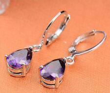 18k White Gold Filled Earrings Crystal Svarovski Sapphire Dangle Earrings E15