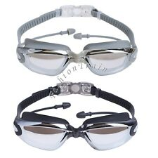 Mens Swimming Goggles Swim Cap Case Nose Clip Ear Plugs Anti Fog UV Protection