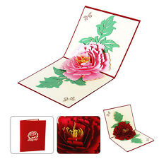 Fashion 3D Pop-Up Greeting Card Peony Paper Mothers' Day Blessing Kirigami Gift