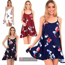 WOMENS FLARED SLEEVELESS STRAPPY TULIP FLORAL CAMISOLE SUMMER DRESS TOP 8-26