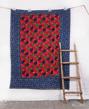 Vintage Kantha Indian-Handmade Quilt Bedspread Throw Cotton Blanket Twin Gudri