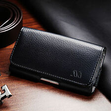 For Smart Cell Phone Black Leather Horizontal Holster Belt Clip Pouch Case Cover