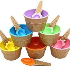 1Pcs Kids Cup Bowl With Spoon Eco-Friendly Dessert Ice Cream Couples Container