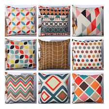 Geometry Leaves Pattern Cotton Linen Pillow Case Throw Cushion Cover Home Decor