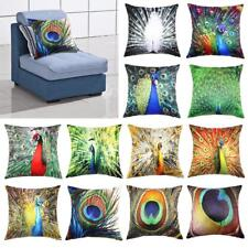 """Vintage Peacock Feathers Flocking Home Decor Throw Pillow Case Cushion Cover 18"""""""
