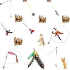 Various Kitten Play Long Teaser Cat Wand Interactive Fun Toy with Pet Feather