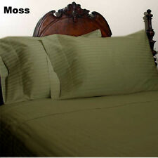 MOSS STRIPED ALL BEDDING ITEMS 1000TC 100%EGYPTIAN COTTON US-FULL SIZE