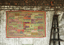 ANTIQUE VINTAGE PATCHWORK WALL HANGING INDIAN HANDMADE ZARI EMBROIDERED TAPESTRY