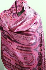 Paisley PASHMINA scarf  Classic SIlk Stole Scarves SHAWL New Womens WRAP pink
