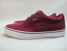 Mens Vans Winston Canvas Shoes Red White Canvas Lace Up Trainers