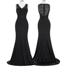 Plus Size BLACK Long Dress Lace Evening Formal Party Bridesmaid Prom Gown Dress