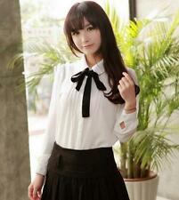 New Women's Lolita Bow chiffon Shirt Sweet College Uniform Tops Slim Fit Blouses