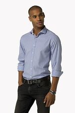 TOMMY HILFIGER light blue shirt man lines, French neck 100% cotton slim fit