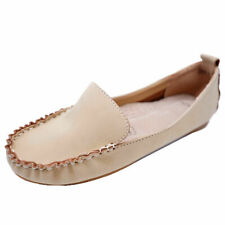 LADIES NUDE SLIP-ON LEATHER WORK MOCCASIN CASUAL COMFORT LOAFER SHOES SIZE 4-7