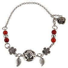 Handmade Fashion Jewelry Anklet with Red Agate and Cute Flowers - FREE V.Bag