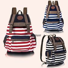 New Fashion Women Girls Backpack Canvas Stripe Leisure Bags School Bag 3 WT8802