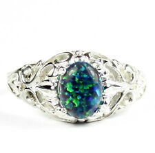 Created Blue Green Opal, 925 Sterling Silver Ring, SR113-Handmade