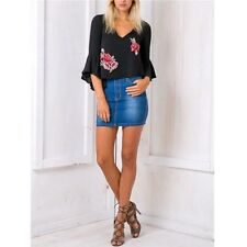 V Neck Chiffon Ruffle Embroidery Blouse Casual Summer Short Blouse Fashion