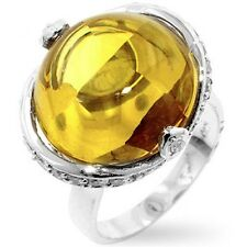 Silver Citrine Deco Cocktail Ring Canary Yellow Cubic Zirconia Plated Size 9 10