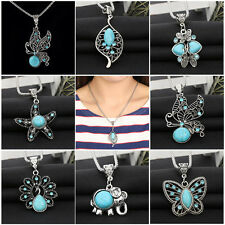 Silver Plated Turquoise Pendant Jewelry Butterfly Chain Statement Bib Necklace