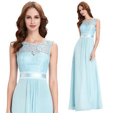 Long Lace Chiffon Bridesmaid Dress Formal Evening Cocktail Party Prom Ball Gowns