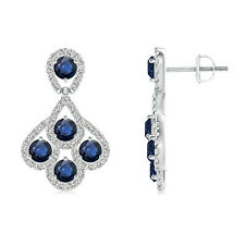 Dangle Sapphire Chandelier Earrings with Diamond Border 14k Solid Gold/ Platinum