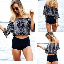 TOPS BLOUSE CASUAL SUMMER PRINTED OFF SHOULDER RUFFLE T SHIRT SHIRT